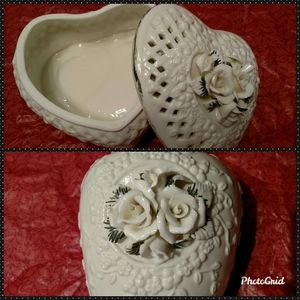 🌹Rose & Latice Porcelain Heart Jewelry Box & Vase